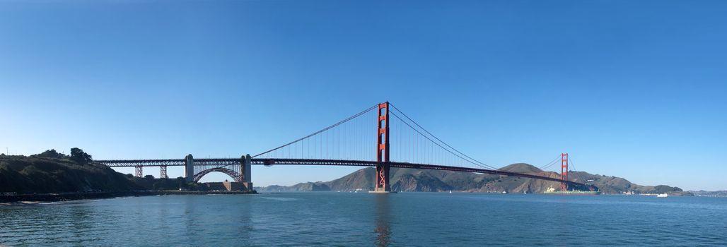 Panorama of Golden Gate Bridge in San Francisco