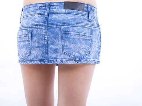 Sexy woman body and jeans skirt