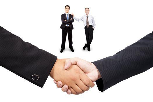Businessman  handshake and teamwork