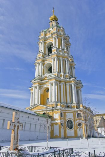tower and wall of Novospassky monastery in Moscow