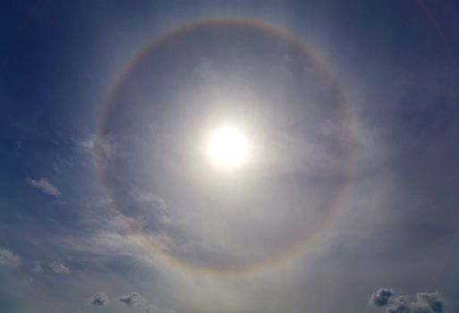 Halo around of the sun in the sky