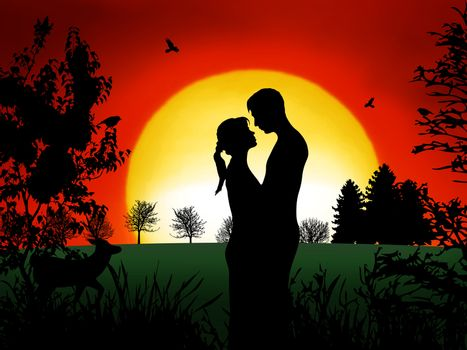 Romantic couple at in the evening with nice sunset