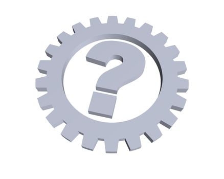 question mark and gear wheel - 3d illustration