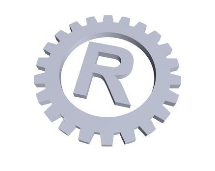 Registered trade mark symbol in gear wheel - 3d illustration