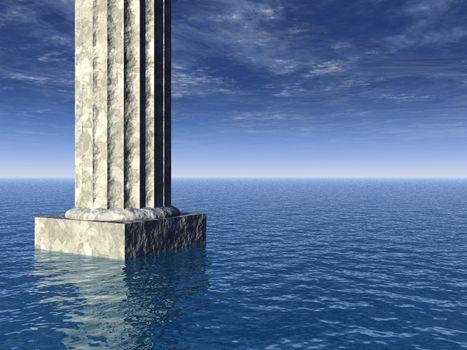 old pillar at the ocean - 3d illustration