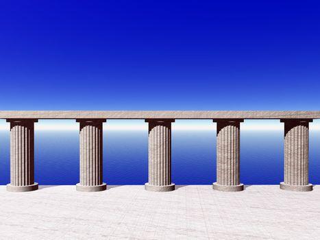 old pillars at the ocean - 3d illustration