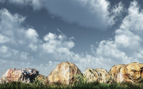 stones, grass and cloudy sky - 3d illustration