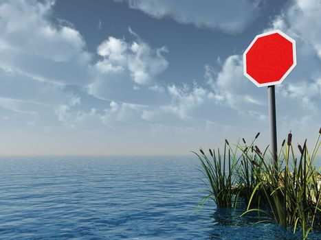 water landscape with blank stop sign - 3d illustration