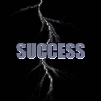 success 3d letters and lightning on black background