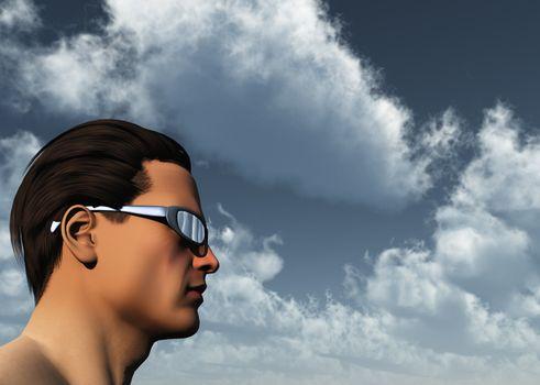 man with sun glasses - 3d illustration