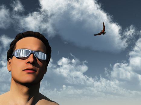portrait of man and eagle - 3d illustration