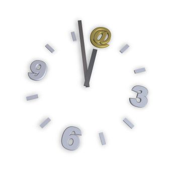 clock with email alias - 3d illustration