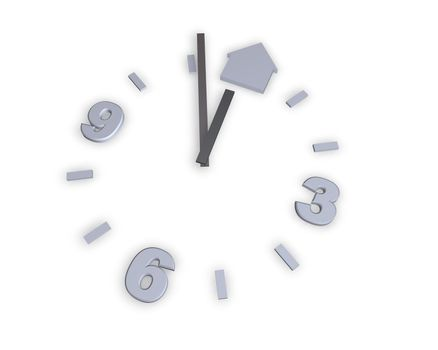 clock and house symbol on white background - 3d illustration