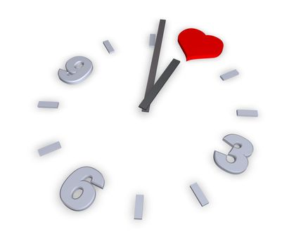 clock with heart symbol - 3d illustration