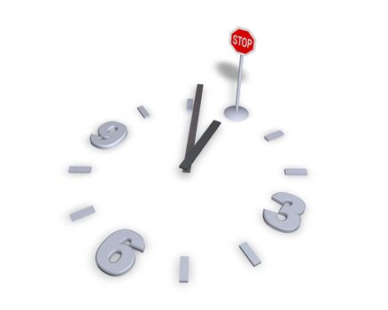 clock with stop sign - 3d illustration