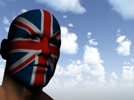 man face painted with union jack - 3d illustration