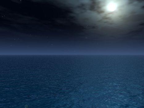 water landscape at night  - 3d illustration