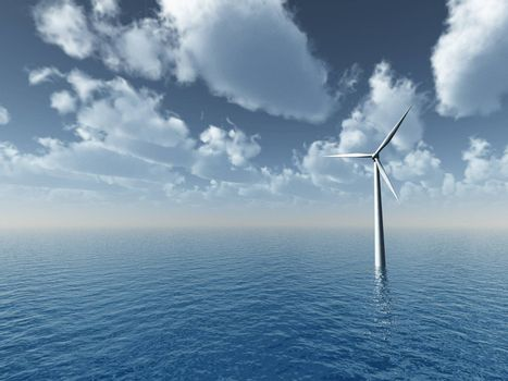 wind generator at the ocean- 3d illustration