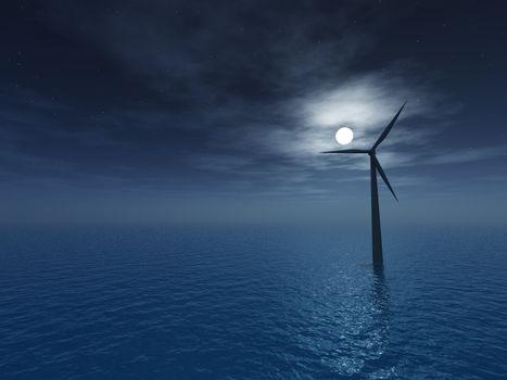 wind generator at night - 3d illustartion