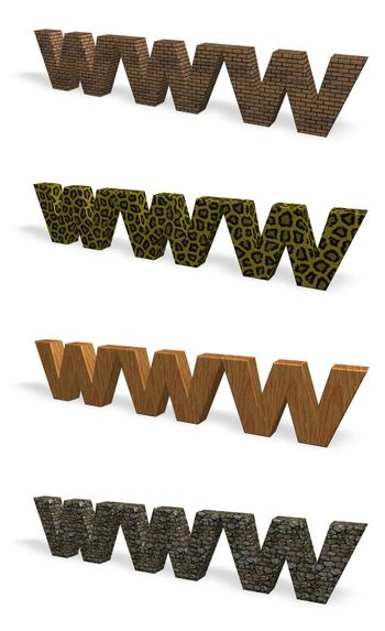 www 3d letters with various textures - 3d illustration