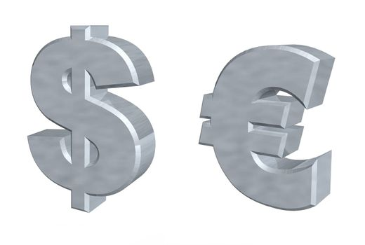 currency symbols dollar and euro - 3d illustration