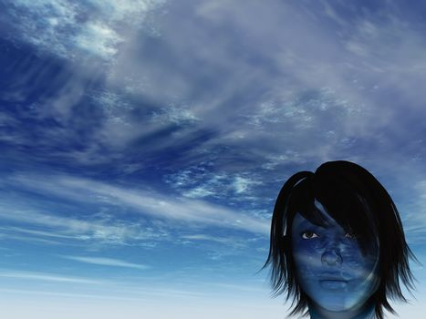 woman with blue cloudy face - 3d illustration