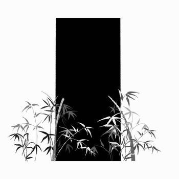 On black-white background, the branches of bamboo