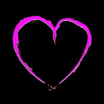 Pink heart with fragmentary edges on black background
