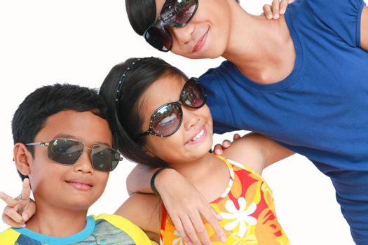 happy kids wearing fashionable sun glasses