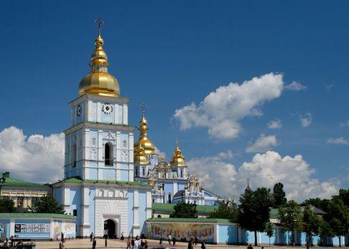 St. Michael`s Golden-Domed Monastery in Kiev, Ukraine in bright summer day