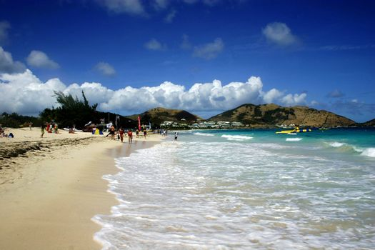 Sandy beach of St-Marteen with mountain view