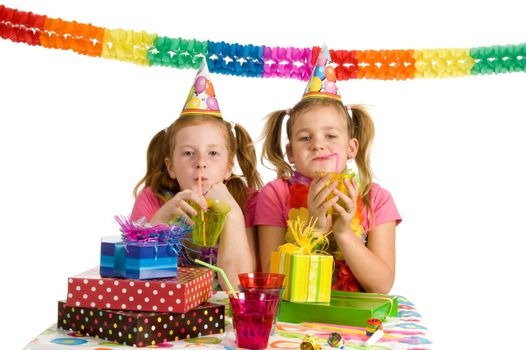 Two young girls on a birthday party