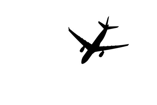 Silhouette of jumbo jet on white background