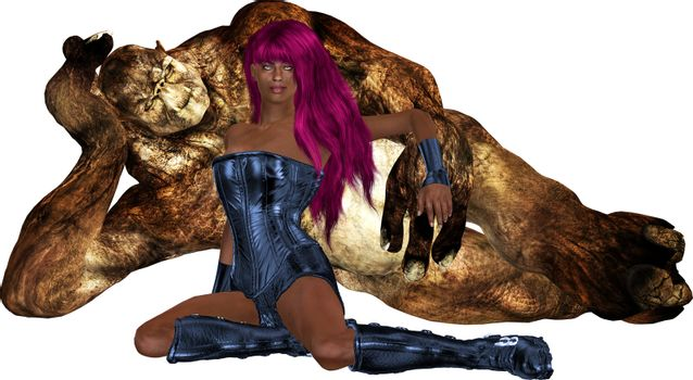 African Sci Fi Woman With Her Guardian