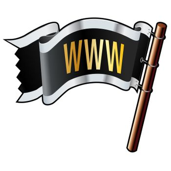 WWW on pirate flag vector
