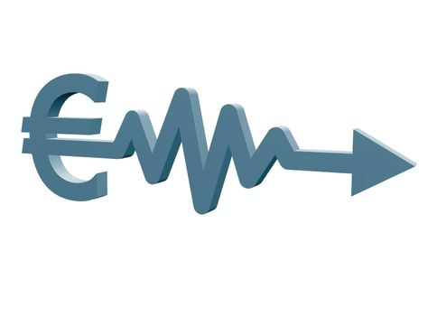 euro sign with arrow - 3d illustration