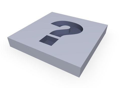 question mark in a block - 3d illustration