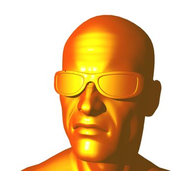 human copper head on white background - 3d illustration
