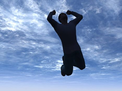 man jumps into the sky - 3d illustration