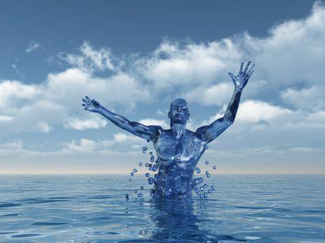 human figure ascend upward from water - 3d illustration