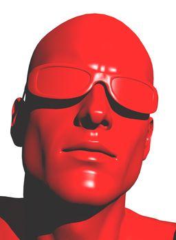 plastic human head with sunglasses - 3d illustration