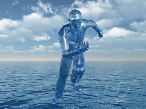 liquid man runs over the water - 3d illustration