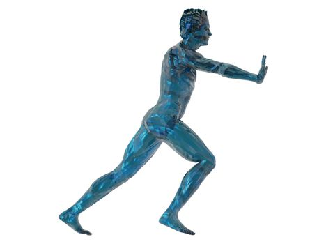 blue man sculpture push what you want - 3d illustration