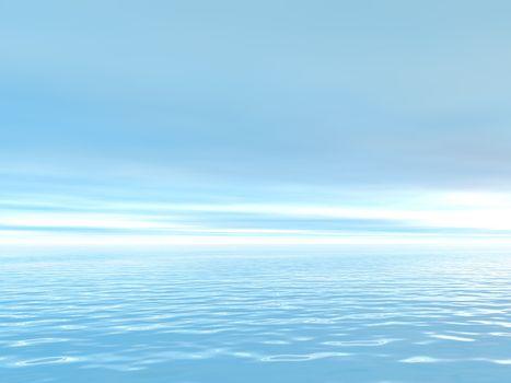 water landscape in blue - 3d illustration