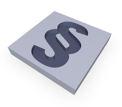 paragraph symbol in a block - 3d illustration