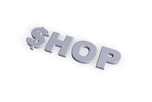 shop text in 3d on hite background