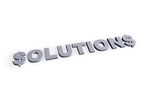 solutions text in 3d on white background