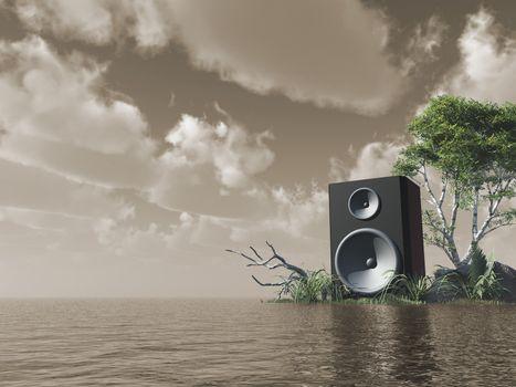 loudspeaker at the ocean - 3d illustration