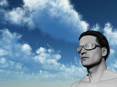 portrait of man with sun glasses - 3d illustration