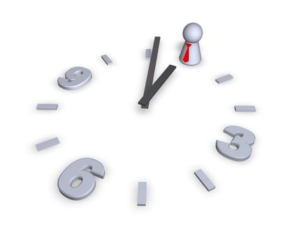 clock with play figure - 3d illustration